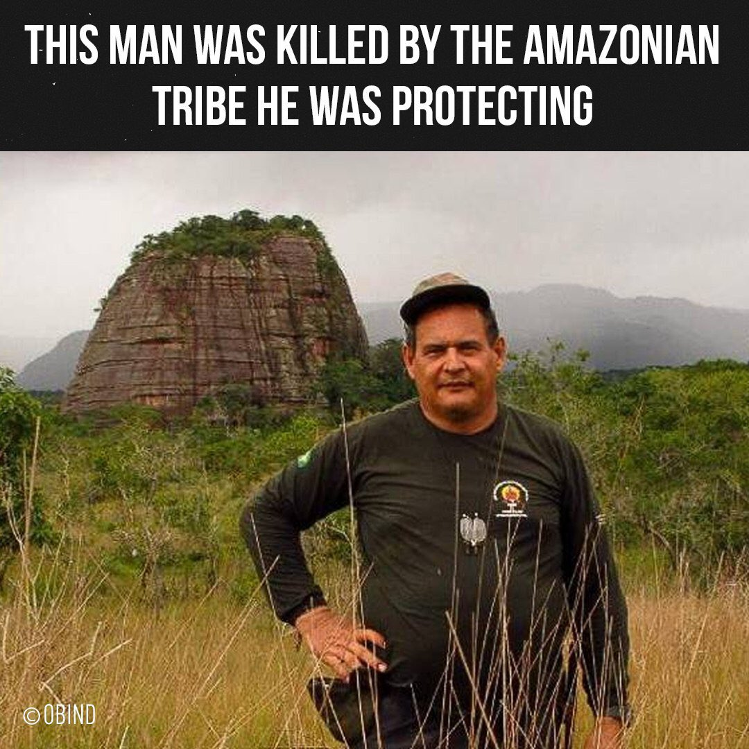🏹People from the Amazon's Uru Eu Wau Wau tribe shot Rieli Franciscato with an arrow and killed him. Rieli, 56, had spent 30 years of his life advocating for uncontacted tribes in the Amazon. When he died, he was fighting to protect them from loggers who wanted their land. https://t.co/uVDjN4qBtP