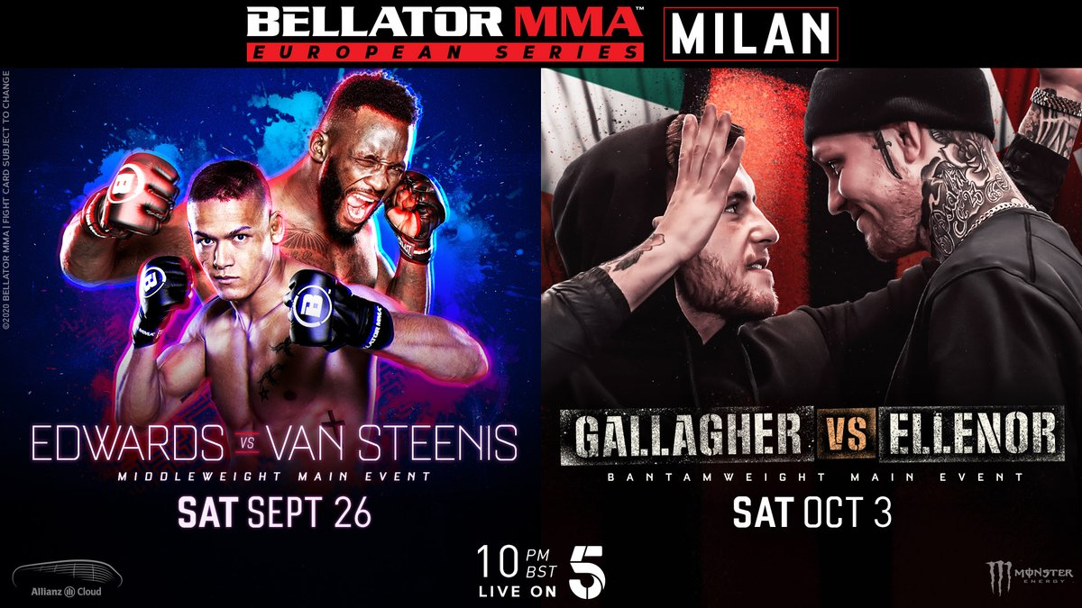 🚨 BELLATOR EUROPEAN SERIES RETURNS 🚨 ⠀⠀⠀⠀⠀⠀⠀⠀⠀ 2️⃣6️⃣ September - Edwards vs. Van Steenis 3️⃣ October - Gallagher vs. Ellenor ⠀⠀⠀⠀⠀⠀⠀⠀⠀ Both events take place in Milan, Italy and will be broadcast live on Channel 5 🇬🇧 https://t.co/54gzu4BShj