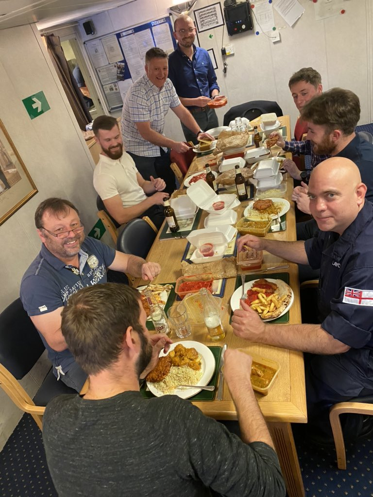 After a busy patrol (inc. some big 🌊 for a small 🚢!) COVID-19 restrictions meant we weren't able to all get together as a team ashore to celebrate a job well done - so a HUGE thank you to the wonderful @RNRMC who provided #takeaway #morale we could enjoy together safely🙏💙⚓️🇬🇧