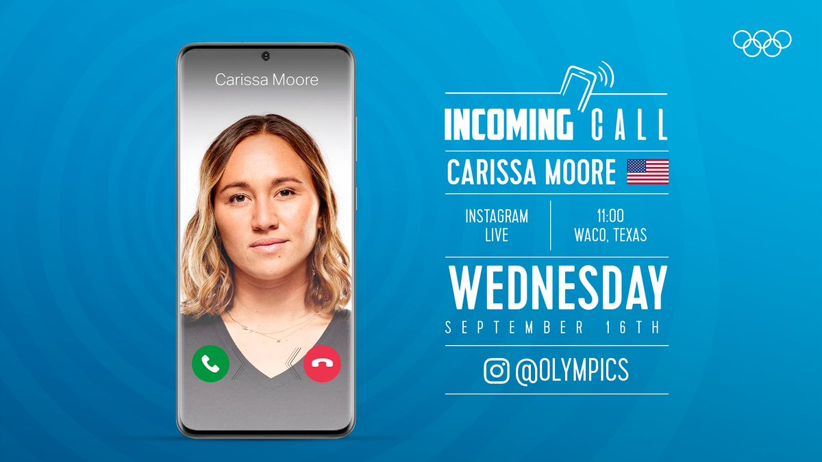 📞 Incoming Call! 📞 Well be joined on the Olympics Instagram page by professional surfer Carissa Moore (@rissmoore10) tomorrow! 🏄‍♀️ @ISAsurfing @WSL @usasurfteam 🏄‍♀️