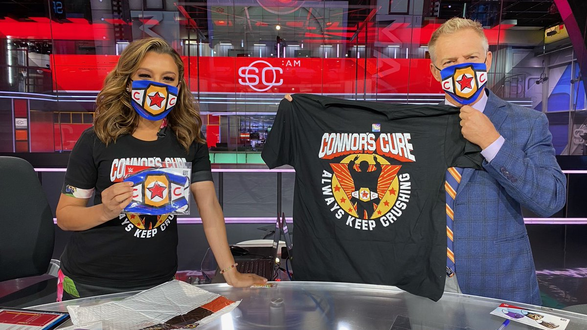 We're smiling under our masks. ⁦@AntoniettaESPN⁩ and I support ⁦@ConnorsCure. #wwe #pediatriccancer awareness month. https://t.co/OoibOSjOQF