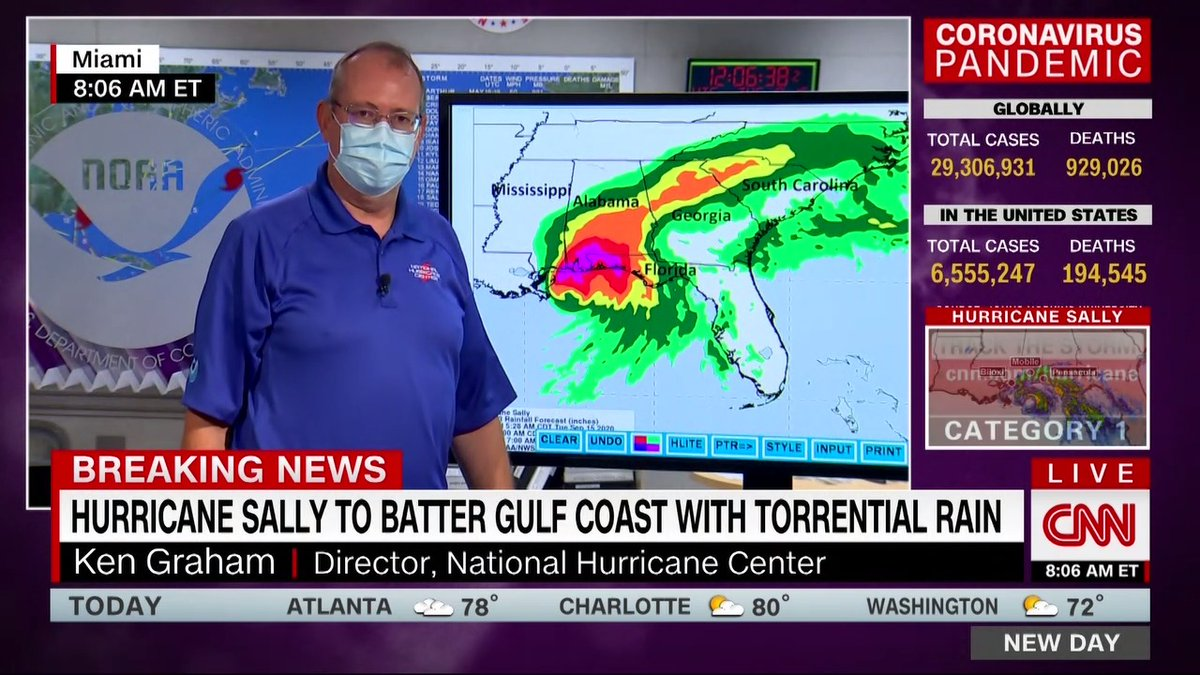 The rain from Hurricane Sally along with storm surge could pose an incredibly dangerous problem, says National Hurricane Center director Ken Graham. It comes down so fast that it starts to pond, he says. Your rivers and your streams... cant drain cnn.it/2ZG4cdV