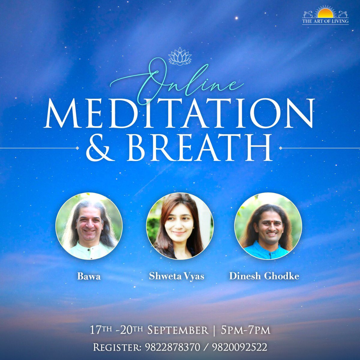 Meditation and Breath Workshop - one of the most effective and enjoyable ways I know for anyone to de-stress and hence increase creativity, productivity and efficiency. Do register and participate... https://t.co/yQ8A21PFux