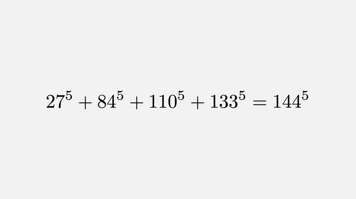 In 1769, Euler conjectured that for all integers n>1, k>1, if the sum of n kth powers of positive integers is a kth power, then n≥k: aᵏ₁+aᵏ₂+...+aᵏᵢ=bᵏ⇒n≥k In 1966, Lander and Parkin disproved the conjecture by finding a counterexample through direct computer search