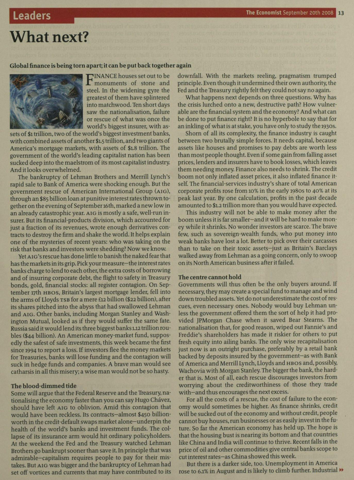 2008年的今天,雷曼兄弟宣布破产,从而引发全球性金融危机。-书迷号 shumihao.com