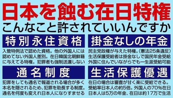 在日特権の即刻廃止外国人と帰化人の一世及び二世の国及び地方自治体と公共団体(狗HKを含む)への就職禁止帰化人の一世及び二世の国及び地方自治体の議員立候補禁止議員の立候補には日本国の学習指導要項に則した学校を卒業18歳以上の成人にはマイナンバーカードの所持の義務化