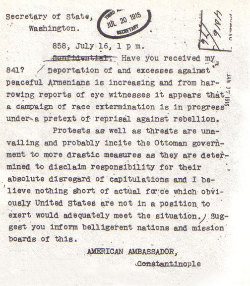"#Armenian #Genocide #Turkey  Crime Against Humanity  Telegram sent by Ambassador Henry Morgenthau, Sr. to the State Department on 16 July 1915 describing the killings of Armenians as ""a campaign of race extermination"".  What later became known as the:        #ArmenianGenocide https://t.co/cSMOZ8eQ5j"