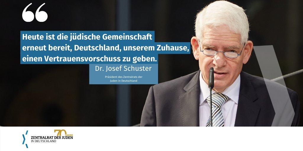 """Dr. Josef Schuster: """"Heute, 75 Jahre nach der Schoa, ist die jüdische Gemeinschaft erneut bereit, Deutschland, unserem Zuhause, einen Vertrauensvorschuss zu geben."""" #Zentralrat70 https://t.co/9YzAvsmkMA"""