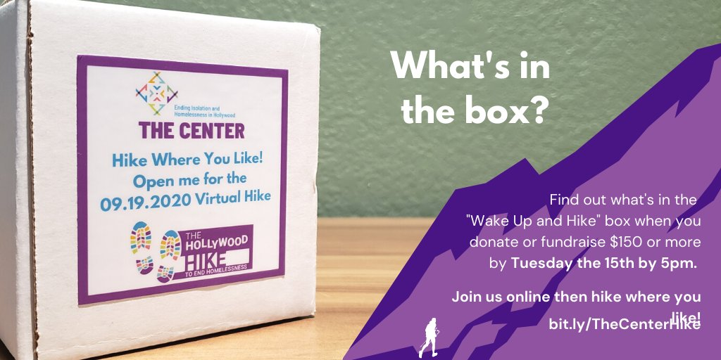Whats in the Wake Up and Hike Box? Donate or fundraise $150 by Tues. the 15th by 5pm and well ship one to you so you can find out. A few left so get yours now buff.ly/2GtZOoe Join our Virtual Hike to End Homelessness on 09.19.20 at 9am. #CenterHike2020 #Hike #Virtual