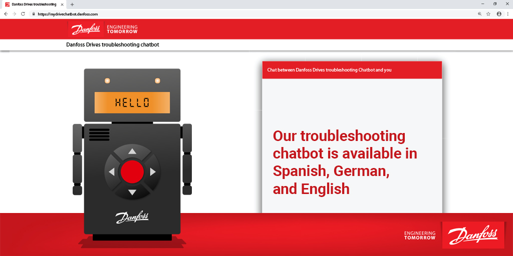 Hola! Hello! Hallo!  Our troubleshooting chatbot is available in Spanish, English, and German.   Take our chatbot for a spin, if you need a hand with troubleshooting VLT® and VACON® drives: https://t.co/LD9N6eo1tn  #ACdrives #customerservice #chatbot #CX https://t.co/D2XDYWdbSp