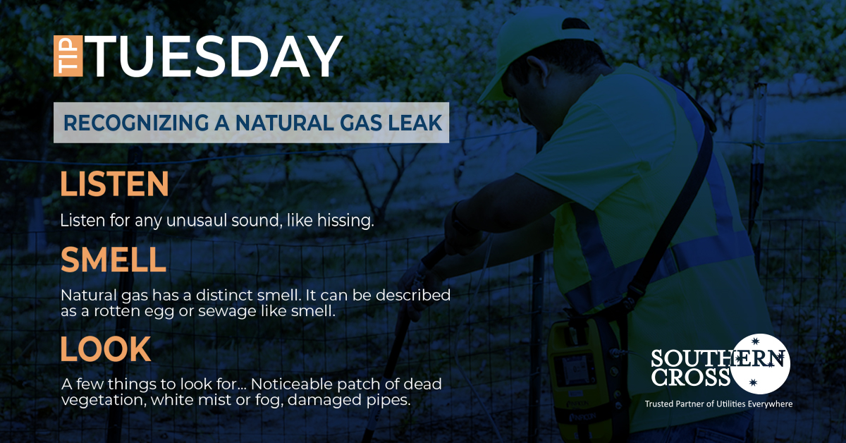 Ever wonder how you can personally recognize a natural gas leak? Listen, Smell, and Look... If you notice any of these things contact a professional right away. #TipTuesday #GasLeakDetection #Utilities #SouthernCross https://t.co/JRgkJzYiQr