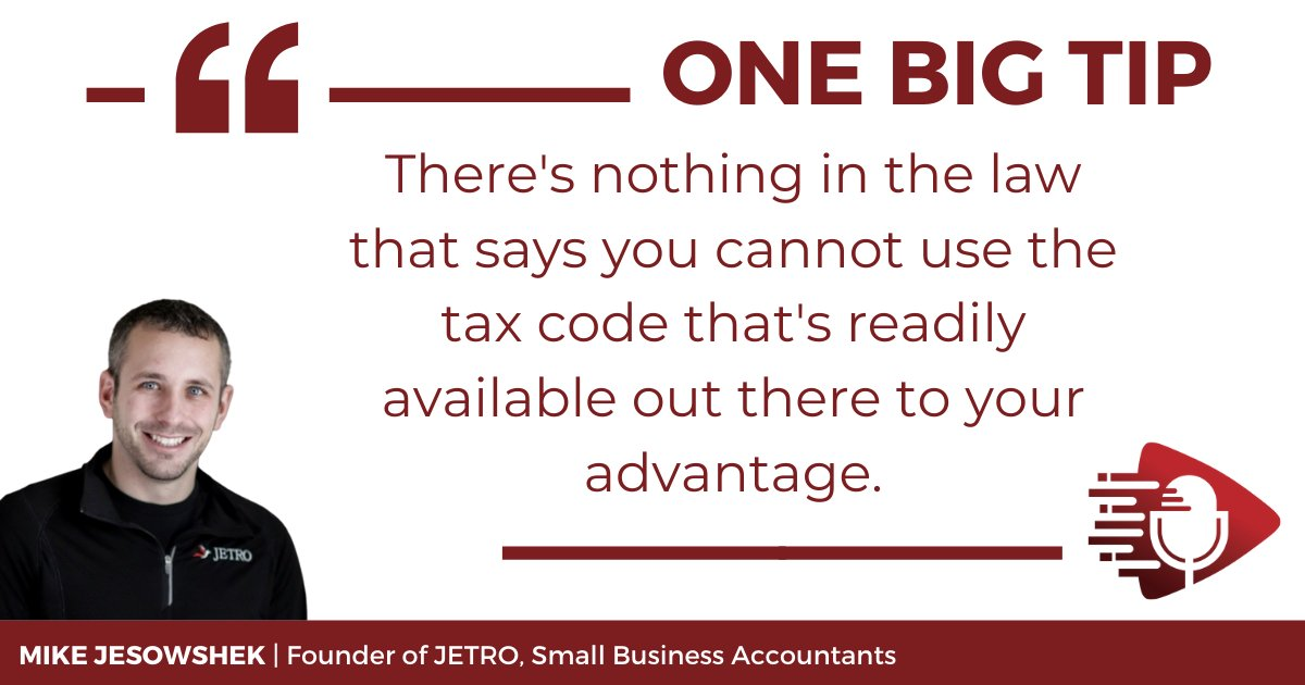Mike's #OneBigTip is for small business owners to focus on tax planning. While altering your numbers or neglecting to report income isn't recommended, there are many ways to legally reduce your tax liability. Find out how by listening to E57 on #taxes ☞ https://t.co/junwrMEMVU https://t.co/J7HwQbfeoQ