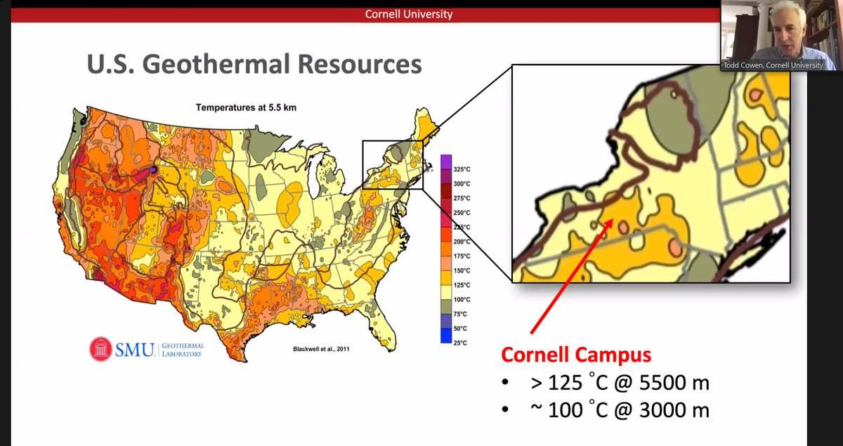 """4/ """" @Cornell campus sits on top of a relatively warm outcropping of heat,""""  @eacowen says. """"As you can see out west, there's a tremendous amount of heat, but it's lesser-known that there's heat outcroppings over much of the US."""" #RFFlive  #EnergyTwitter"""