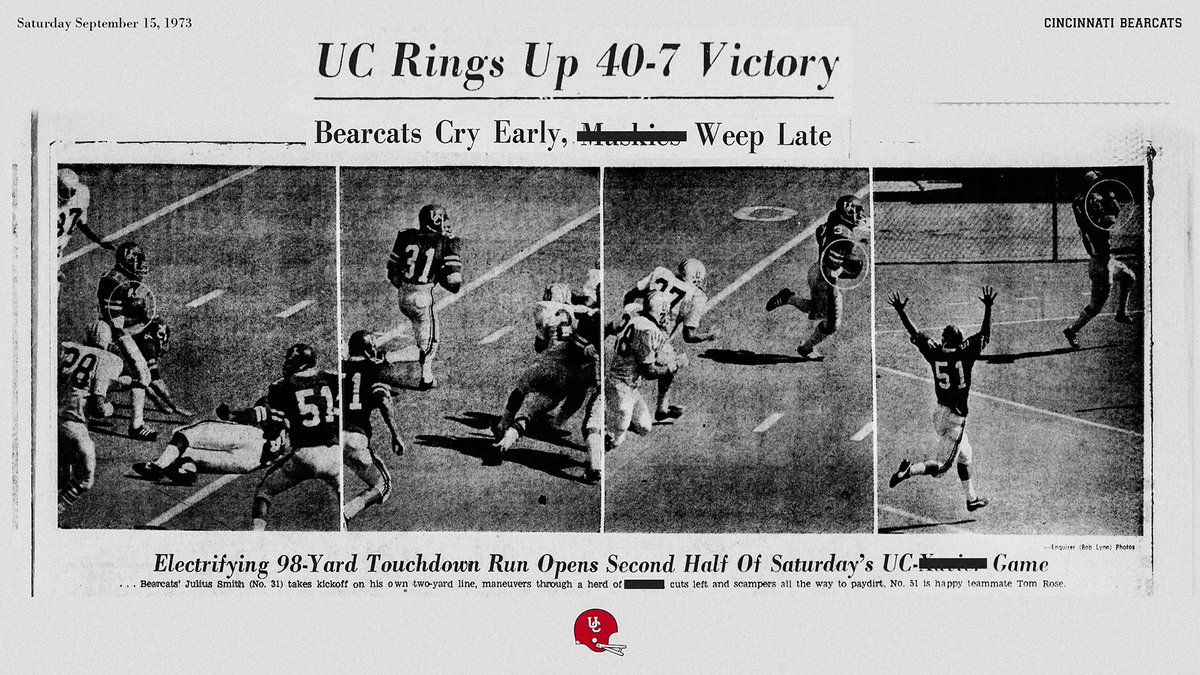 On today's date in 1973, @GoBearcatsFB opened the season with a 40-7 demolition of a local team in that program's final season. https://t.co/HiIYg1xMB8