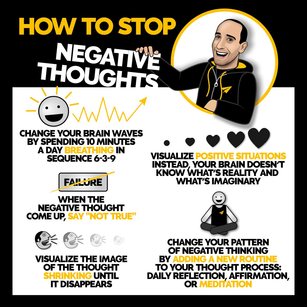 Drop a 'YES' below if you need to embrace one of these points! 👇  How to stop negative thoughts. ______________________________________   #bestadvice #personaldevelopment #positivemindset https://t.co/tdqdRmYRXA