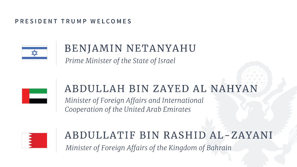 Today is a HISTORIC day at the White House! President @realDonaldTrump welcomes the Prime Minister of Israel and the Foreign Ministers of Bahrain and the United Arab Emirates for the signing of the Abraham Accords! 🇮🇱 🇦🇪 🇧🇭