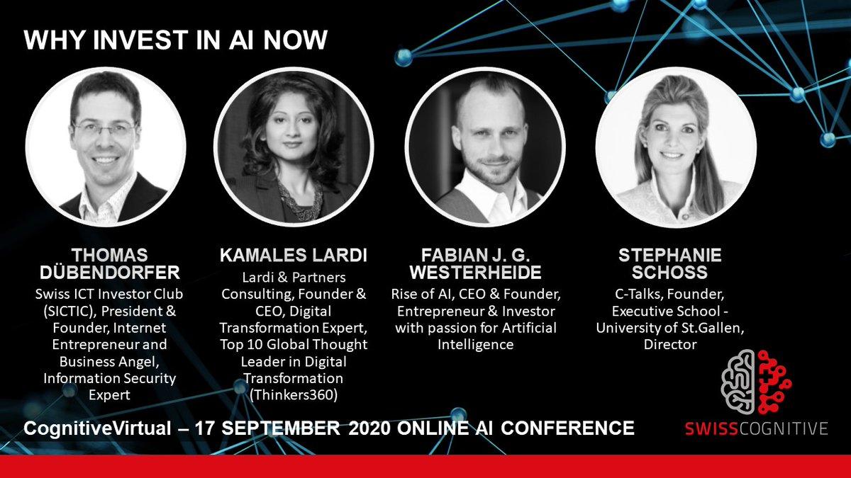 𝗪𝗵𝘆 𝗶𝗻𝘃𝗲𝘀𝘁 𝗶𝗻 #𝗔𝗜 𝗻𝗼𝘄?  Find out about it when @Duebendorfer, @KamLardi, @fabian, Fabian J. G. Westerheide and Stephanie Schoss discuss it on the next #CognitiveVirtual – The Shakedown-Test of AI Investment 💵🧠  Register: https://t.co/wbpRfUyrJu 👈 https://t.co/FoXeNpvhu9