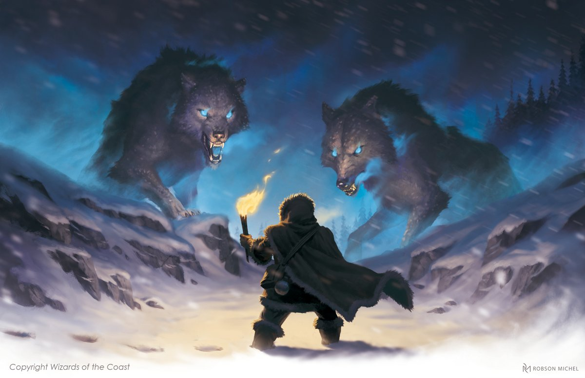 """""""Winter Wolves"""", for Icewind Dale: Rime of the Frostmaiden. ❄️ #DnD  AD: Kate Irwin Just one of the many encounters to have in the dark frozen expanses. What would you do in this situation? Fight? Bargain? Flee? https://t.co/O3gkt8TJ6a"""