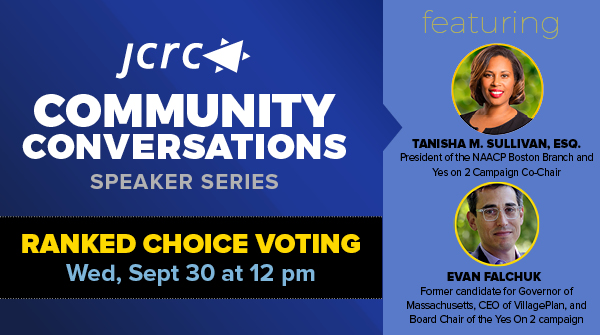 Join us to discuss the Ranked Choice Voting ballot initiative with Evan Falchuk, former candidate for Governor & @yeson2rcv Board Chair, & Tanisha M. Sullivan, Esq. @attorneytanisha President of @BostonNAACP1911 and honorary campaign co-chair. Sept 30 @ 12 https://t.co/5lG1hcvxKA https://t.co/8yo1fDjBmR
