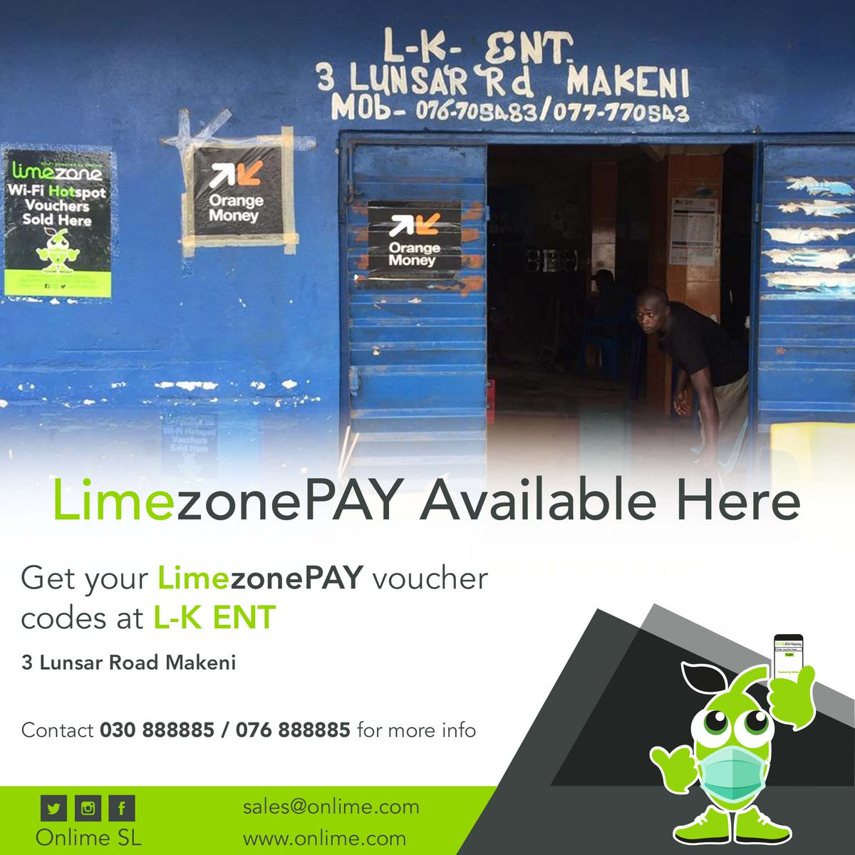 Get your LimezonePAY Voucher codes from L-K ENT, 3 Lunsar Road Makeni contact +23230888885 /+23276888885 for more info. #Staywell #StaySafe #LimezonePAY #SuperfastInternet #ABundleOfCheapData https://t.co/mPDxLxEQqt