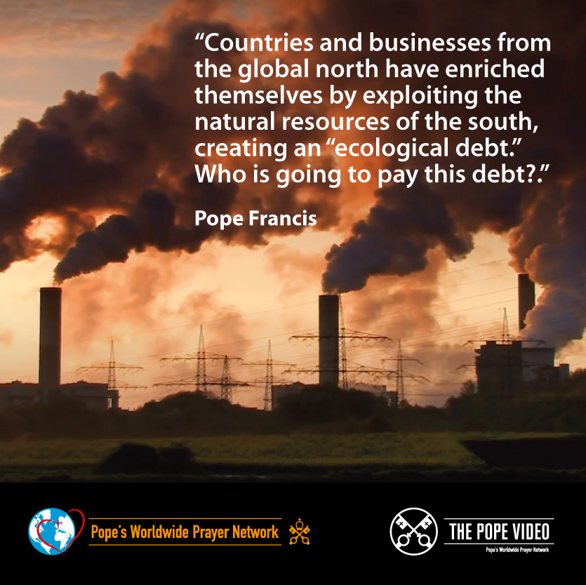 """Do you know what """"ecological debt"""" is? @Pontifex explains it very clearly: the commercial imbalance between the global north and south, which has grave ecological consequences. #SeasonOfCreation @popesprayernet @VaticanIHD @Gasmuha @CathClimateMvmt youtu.be/Ziryacd5vIw"""