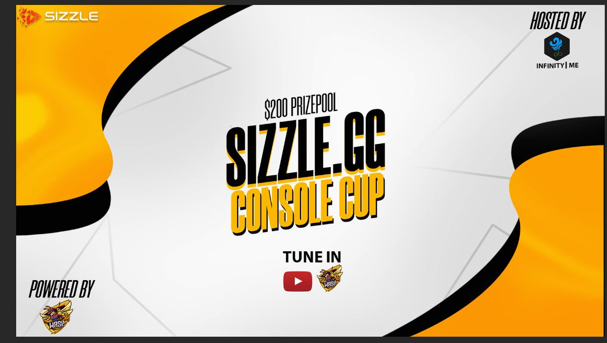 @sizzlegg Console Cup   Powered by : https://t.co/nhiflInR8b @eSportsWASP   Hosted by : @_infinityscrims  Event will be live produced on the WASP YouTube channel so don't forget to tune in.   Qualifiers on the Infinity Console Scrim Server.   #WASPAttack https://t.co/O3qw8vtMAl