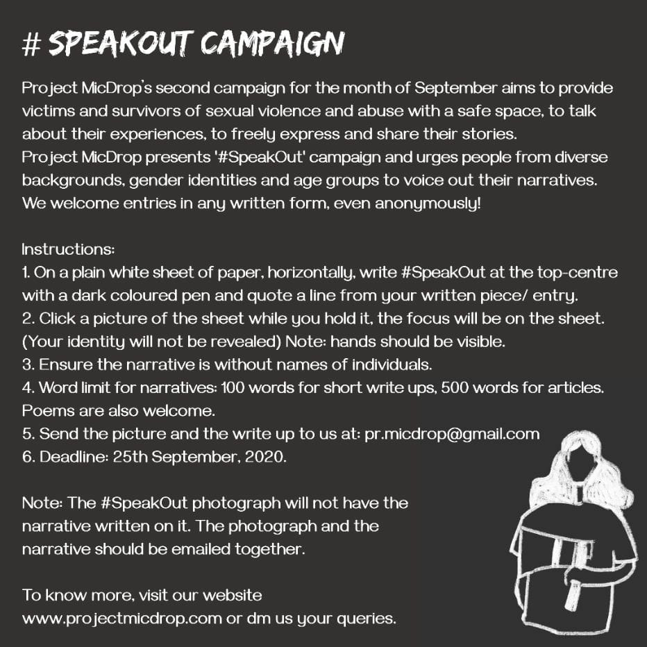 #speakout campaign  #ProjectMicDrop #SpeakOut #ThatsAllFolks #EqualityForWomen #FeminismisForEverybody #FeminismisEquality #SmashThePatriarchy #IntergenerationalTrauma #Intergenerational #InclusiveEducation #Inclusiveness #Intersectionality #SexualViolence https://t.co/slUxCRidGo