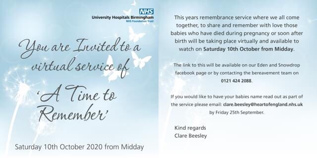Our annual baby loss memorial  service @uhbtrust 'A Time to Remember' will be held virtually this year. Please see the invite for more details of how you can still be part of the service. @BLA_Campaign https://t.co/wIgdBS9UrU