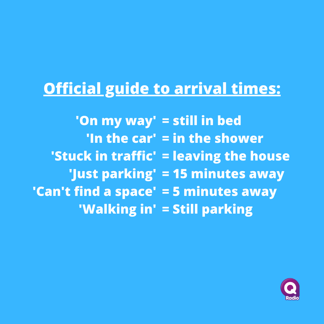 Tag a friend who abides my these arrival times 😂🙋 https://t.co/6VXEJUMbLA
