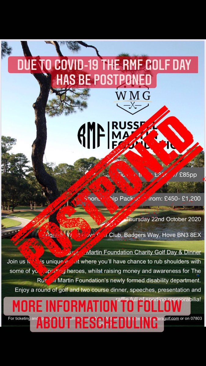 Unfortunately the RMF Golf Day has been postponed. More information to follow on rescheduling. https://t.co/wUciZEpPvv