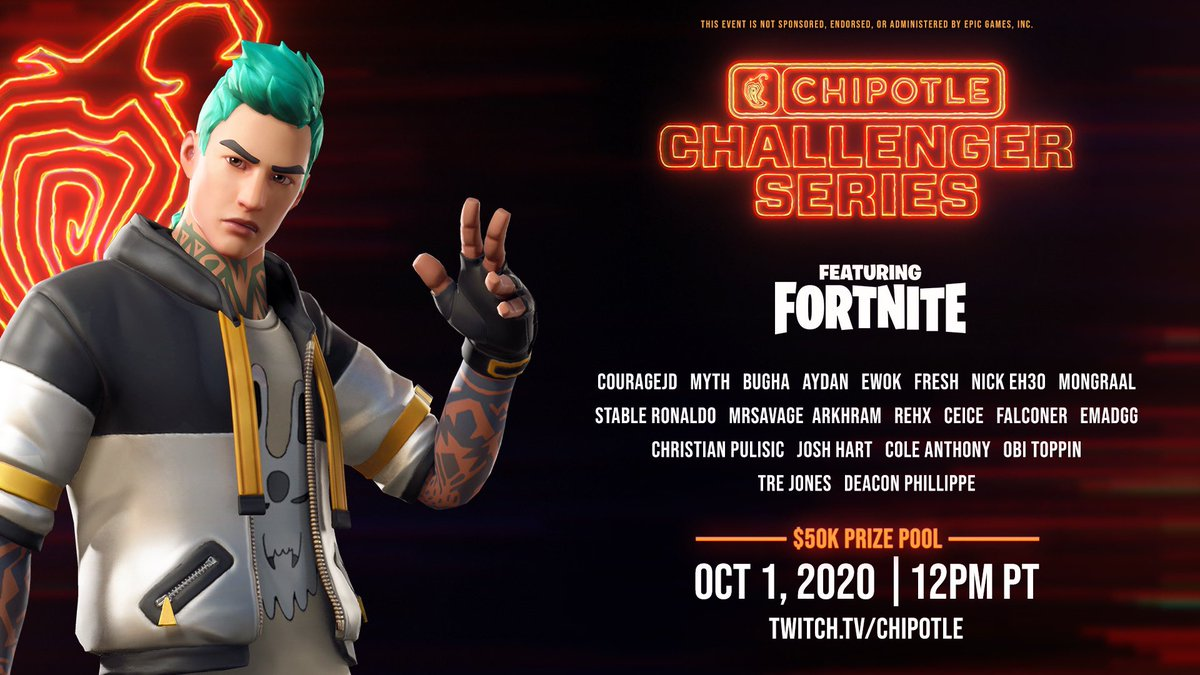 Drop into @ChipotleTweets Challenger Series feat. Fortnite w/ your friends! Sign up for the qualifiers on 9/17 & 9/24 for your chance to face off against me & this squad👇in the finals! SIGN UP TODAY:#Sponsored