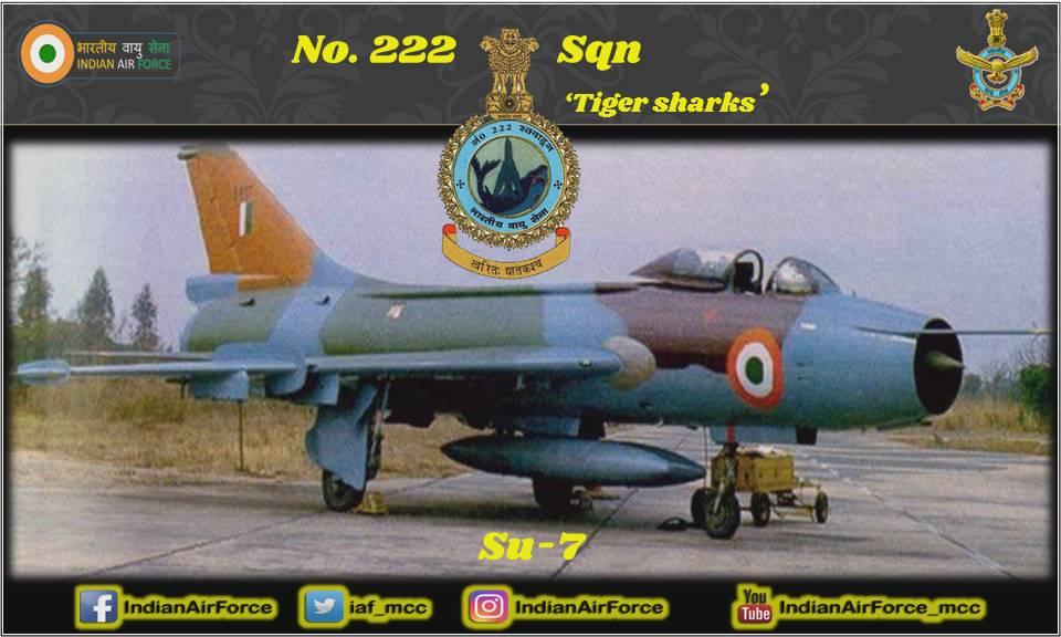15 सितंबर 1969 को भारतीय वायु सेना के 222 स्क्वाड्रन का गठन हुआ। इस स्क्वाड्रन का 1971 युद्ध में सक्रिय योगदान था। Su -7 लड़ाकू विमान के साथ , इस स्क्वाड्रन ने अपने शौर्य का प्रदर्शन करते हुये कई कीर्तिमान स्थापित किए हैं। #ThisDayInHistory