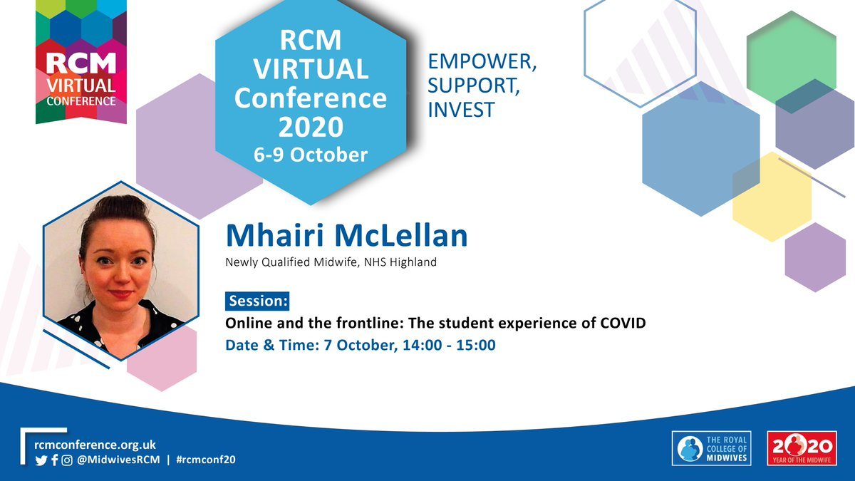 """*SPEAKER ANNOUNCEMENT @MhairiMcLellan is Newly Qualified Midwife, NHS Highland. She will be speaking at this year's #rcmconf20 on """"Online and the frontline: The student experience of COVID"""" on 7 Oct at 14.00. Register here to join: https://t.co/5YylDBLyRq https://t.co/mcRqE37724"""