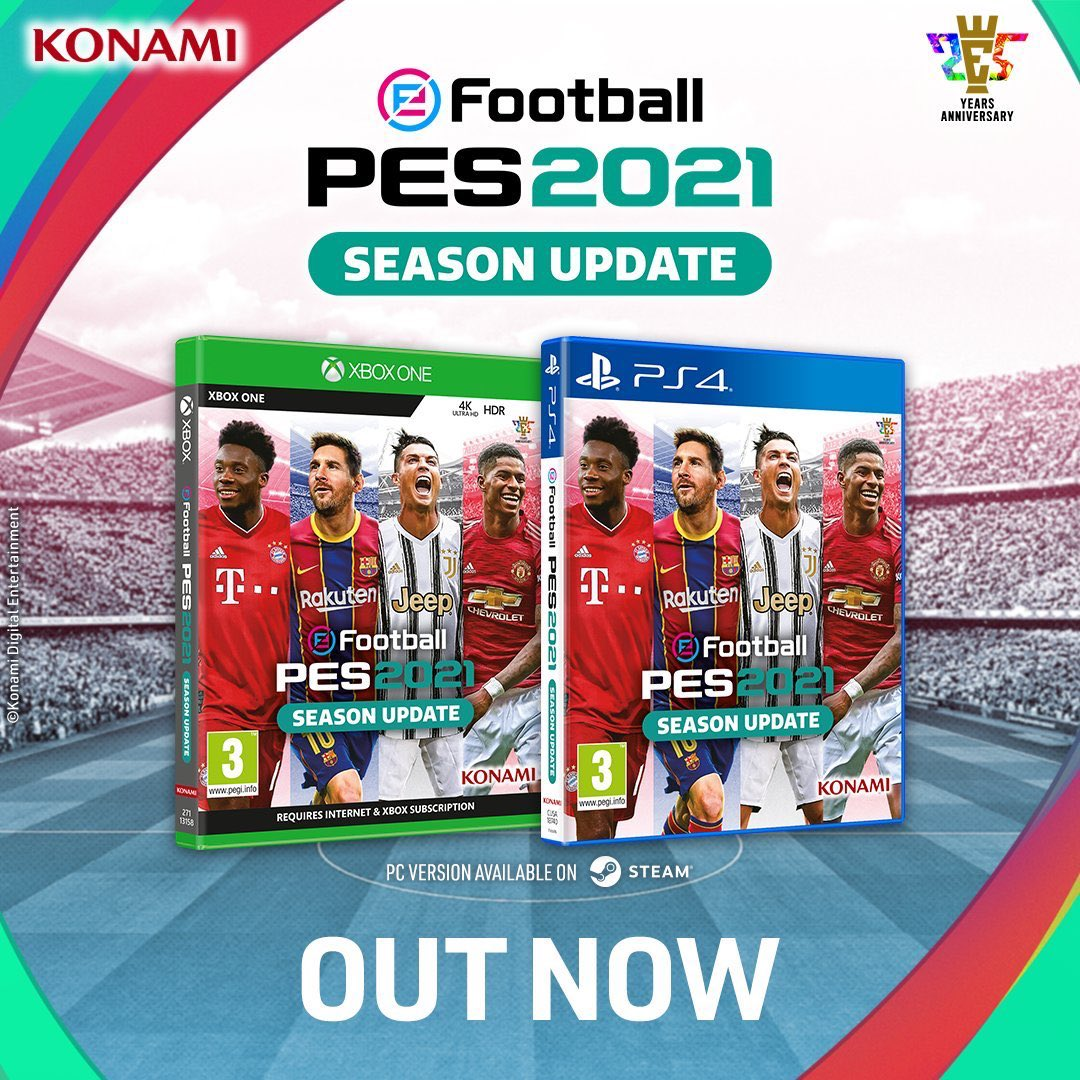 ⚠️ OUT NOW ⚠️  #PES2021 Season Update is out today at the bargain price of £24.99!!   Stock available in-store today... its time for kick-off!! ⚽️⚽️ https://t.co/IsdXKB6zJu