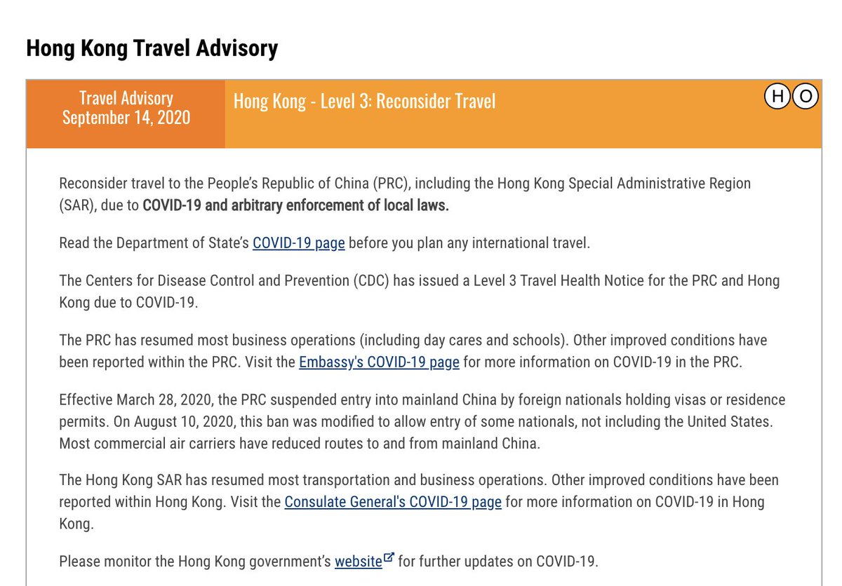 """The @StateDept on Monday urged Americans to """"reconsider travel"""" to Hong Kong, where CCP """"unilaterally and arbitrarily exercises police & security power. The US also cited the CCPs pursuit of people outside of Hong Kong, including a US citizen under NSL. travel.state.gov/content/travel…"""