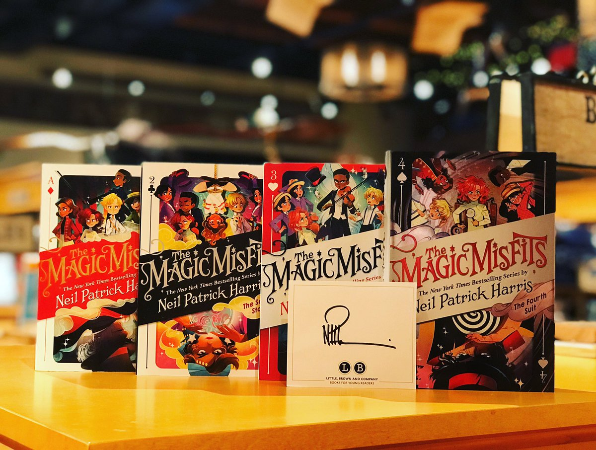 It's a magical release day! @ActuallyNPH's fourth and final book in the #magicmisfits series is out now! Complete your collection with the grand finale and a signed #bookplate, and register for our event with Neil and @wimpykid this Thursday! Details at anunlikelystory.com/event/NPH