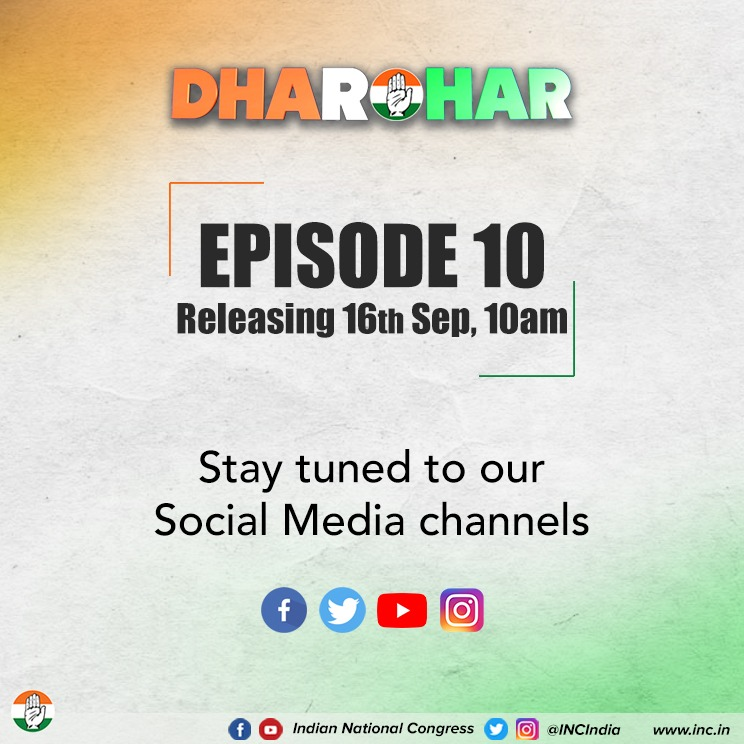 Tomorrow, 10 am. Tune in to our social media channels to watch the 10th episode of Dharohar and learn about the struggles that shaped Gandhiji's life; his journey from Mohandas to Mahatma.