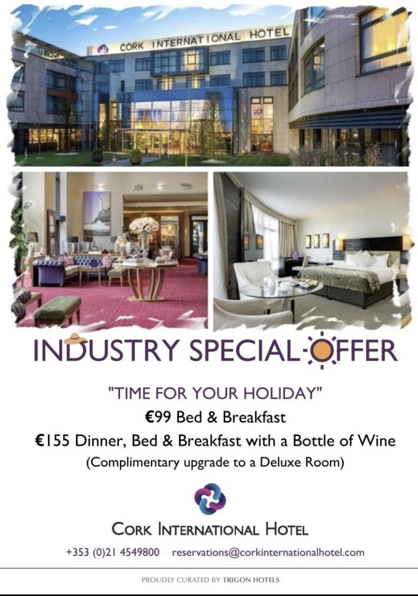 Feel free to contact me directly if you want to avail of this great offer in @No1CorkHotel #supportlocal #staycation #hotels https://t.co/kRpM796YWd