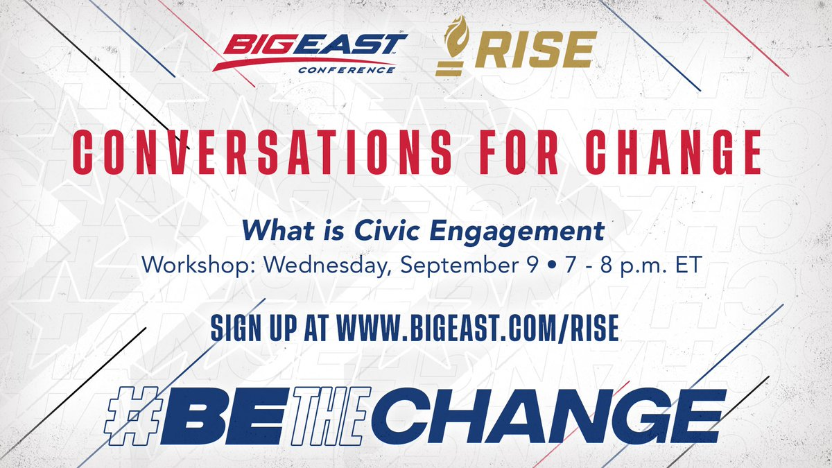 In partnership with @RISEtoWIN, the #BIGEAST will be hosting a three-part #ConversationsForChange workshop series on voting education and rights. For more, visit BIGEAST.com/RISE #BEtheChange