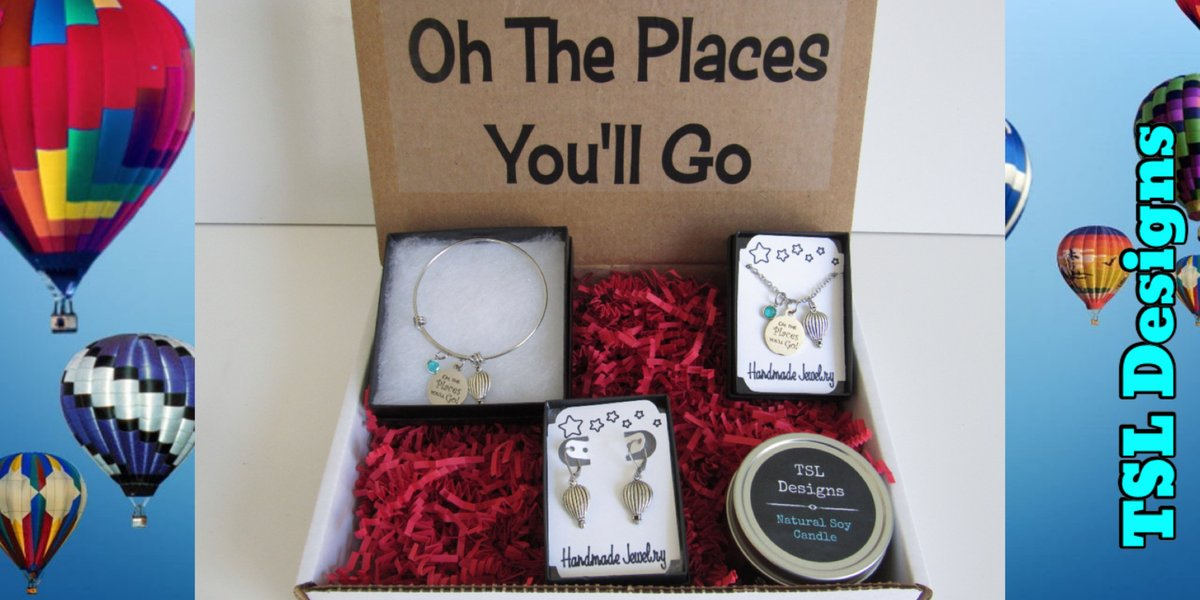 Oh The Places You'll Go Gift Box, Matching Necklace, Bracelet and Earrings & Handpoured Soy Candle https://t.co/UQ55o7XAMI #giftbox #necklace #earrings #bracelet #charmbracelet #handmade #jewelry #handcrafted #jewelryset #shopsmall #etsy #ohtheplacesyoullgo #drseussquotes https://t.co/4WAZgGB92F