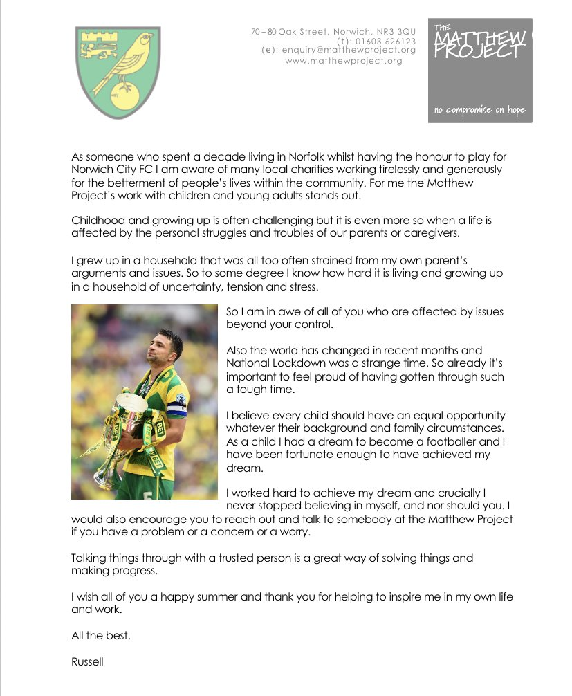 Huge thanks to Russell Martin who took his time last month to write a letter to 200 young people across Norfolk.  Russell is a former @NorwichCityFC captain and current @MKDonsFC manager.   This meant so much to many children affected by someone's substance misuse.  Thanks Russ! https://t.co/IYkBeIQ17h