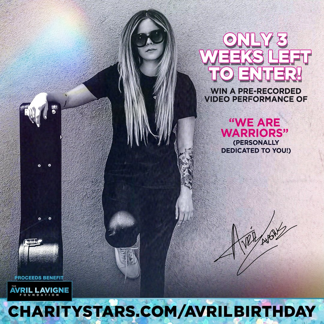 There's still time to support @AvrilFoundation & win a personalized video performance by @AvrilLavigne of #WeAreWarriors! Avril will announce the lucky winner on her socials on her birthday 9/27  for more info @CharityStars @AvrilLavigne