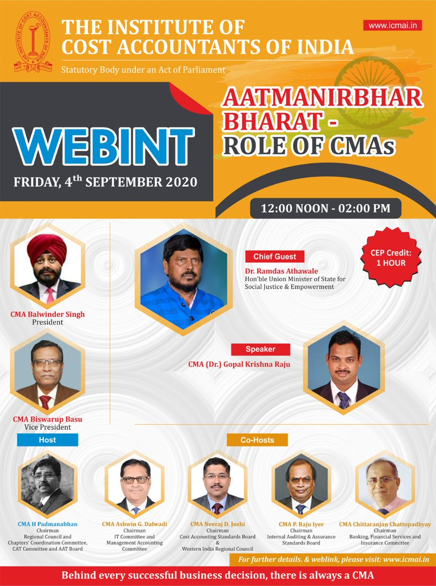 Dear All   Greetings   Welcome to Institute WEBINT 9n 04th September 2K20 from 12 Noon to 2PM   Details as per brochure   Link to join  https://t.co/PUxlA9Z2bN  Share with your known ones   Regards  CMA Balwinder Singh  President  The Institute of Cost Accountants of India https://t.co/lPt0dJ1X4S