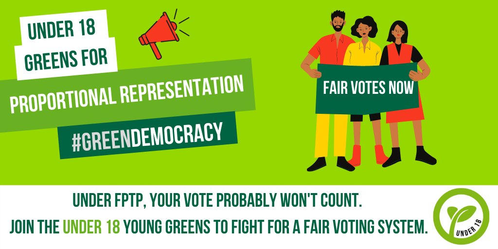 Even if #VotesAt16 was a reality, our broken voting system still means most votes wouldn't really count.  We need Proportional Representation so ALL votes have equal value. It is the first step to true #GreenDemocracy.  #ChangeTheVotingSystem https://t.co/rIxNs4gZkG