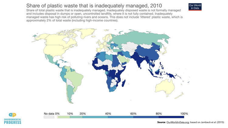 Plastic waste in the oceans comes from- poor nations that lack waste collection - rich nations that dump plastics on poor ones by deceiving themselves that their plastics will be recycled when they often are not