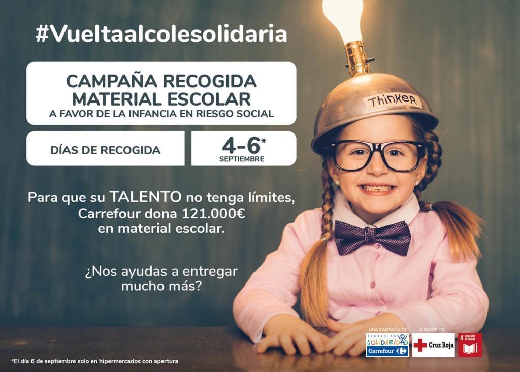 Mañana comienza la recogida de material escolar en @CarrefourES en colaboración con #CruzRoja? ¿Nos ayudas?? #Vueltaalcolesolidaria 1