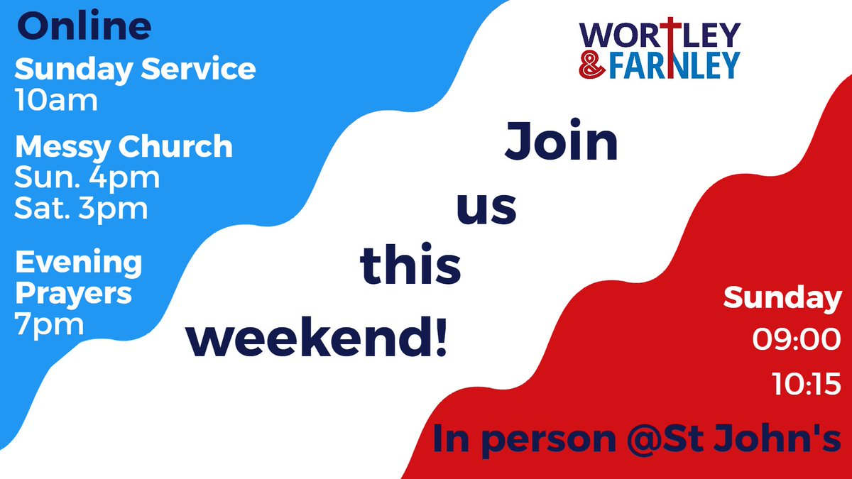 If you're living in #Leeds & looking for somewhere to go to #church do join us this weekend online or at St John's: with two different services:  9:00 friendly, liturgical 10:15 new, contemporary  there should be something for all shapes and styles! #LS12 #wortley #farnley https://t.co/nQIow1Q8AY