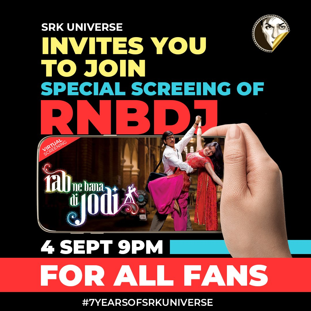 7 years... Can't believe we have come so far! And we want to celebrate with the ones that matter the most. A special night with all the SRKians watching a special SRK film together, virtually . Link to be shared tomorrow. RT if you are gonna join us! ❤️ #7YearsOfSRKUniverse https://t.co/a6AY1TaYyG