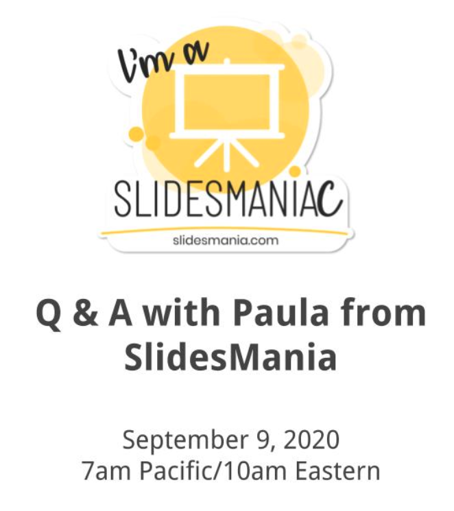 Did you hear that we're hanging out with the creator of the @SlidesManiaSM, Paula, next week - Wednesday, September 9 at 10am EDT.  Make sure to save your seat to this free event here: https://t.co/laLDJltdx0 https://t.co/3uySWivZ8Y