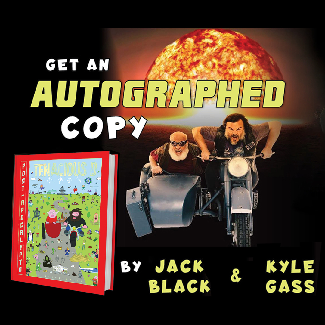 Big news for @tenaciousd fans! There are a limited number of signed copies of Post-Apocalypto, available via @PCollectibles. Order now, then tune in on 9/16 for a live book signing & Q&A with @jackblack and @GassLeak! https://t.co/Ssv0bdZjZG https://t.co/i7ENnhNuVm